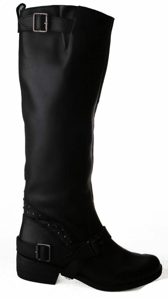 Naughty Monkey Womens Bellatrix Tall Black Riding Boot w Zipper