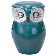 Outdoor Yard Decor Owl Stool Ceramic Blue Deck ... - $184.02