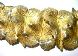 OVERLAPPING GOLD TONE LEAVES LEAF TONGUE CLASP LARGE WIDE VINTAGE BRACELET - $125.00
