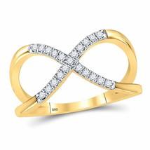 10kt Yellow Gold Womens Round Diamond Split-shank Infinity Ring 1/6 Cttw - £193.09 GBP