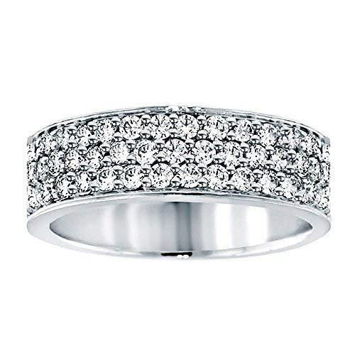 VIP Jewelry Art 1.00 CT TW Pave Set 3-Row Anniversary Diamond Wedding Band in Pl