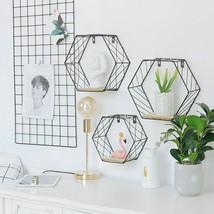 Wrought Iron Hexagonal Grid Wall Shelf Black Grid Style Small (no backbo... - $22.49