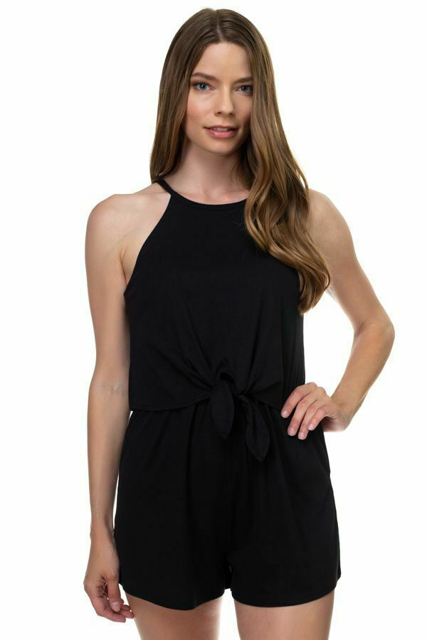 Ladies One Piece Black Sleeveless Romper Ribbed Front Tie Shorts Jumpsuit Size S