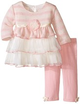 Bonnie Jean Baby Girl 12M-24M Pink/white Long Sleeve Triple Tier Dress/legging S