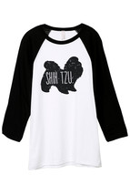 Thread Tank Shih Tzu Dog Silhouette Unisex 3/4 Sleeves Baseball Raglan T-Shirt T - $24.99+