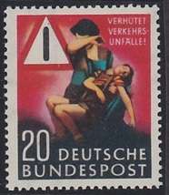 1953 Traffic Accident Germany Postage Stamp Catalog Number 694 MNH