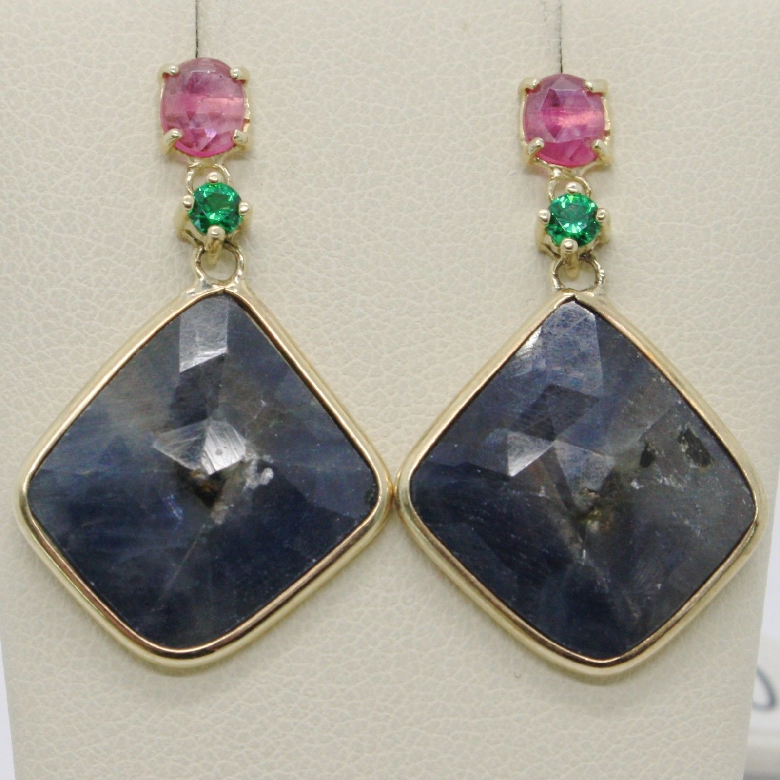 9K YELLOW GOLD PENDANT EARRINGS, DROP BLUE & OVAL PINK SAPPHIRE, GREEN EMERALD