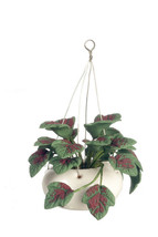 DOLLHOUSE MINIATURE DARK GREEN TROPICAL LEAVES IN HANGING POT  #RP0761 - $6.44