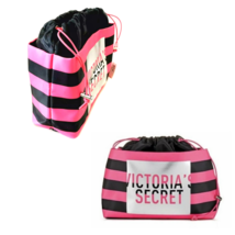 Victoria's Secret Cosmetic Bag Makeup Bag Pink and Black Stripe NWT - $22.87