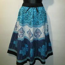 Falda Fit M L XL 1X Plus Turquesa Estampado Floral Algodón Retro de Campana - $19.83
