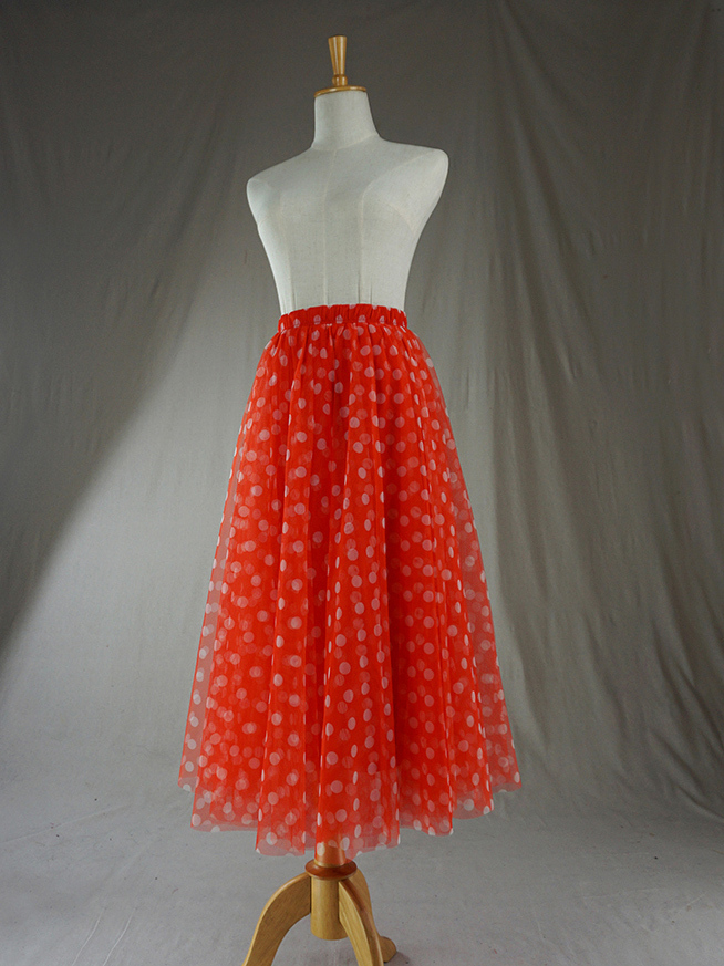 Tulle skirt orange dot 2