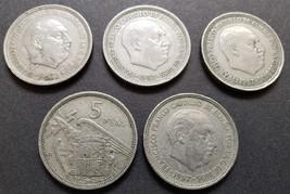 5 vintage Francisco Franco Caudillo de Espana Por La G. De Dios Coins 1957 - $14.95
