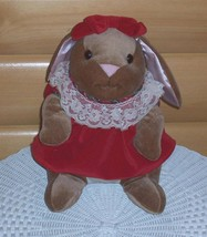 "Velveteen Rabbit Classic Plush 13"" in Red Lovely Lace Collar Dress - $9.69"