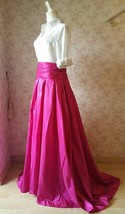 Women High Waist Pleated Evening Skirt Floor Length Maxi Formal Skirts- Fuchsia image 3