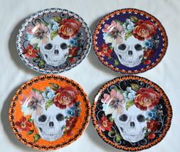 8pcs 222 Fifth Marbella Skull * SALAD PLATES * Halloween, Colorful, Flow... - $76.99