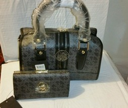 Guess Quattro G Satchel Framed Heritage Coal Multi & matching wallet Pur... - $159.99