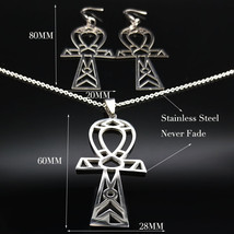 2019 Fashion Witch Pentagram Stainless Steel Earrings Necklace Sets Wome... - $17.76