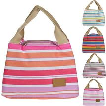 Insulated Thermal Cooler Striped Travel Picnic Lunch Carry Tote Storage ... - $12.99