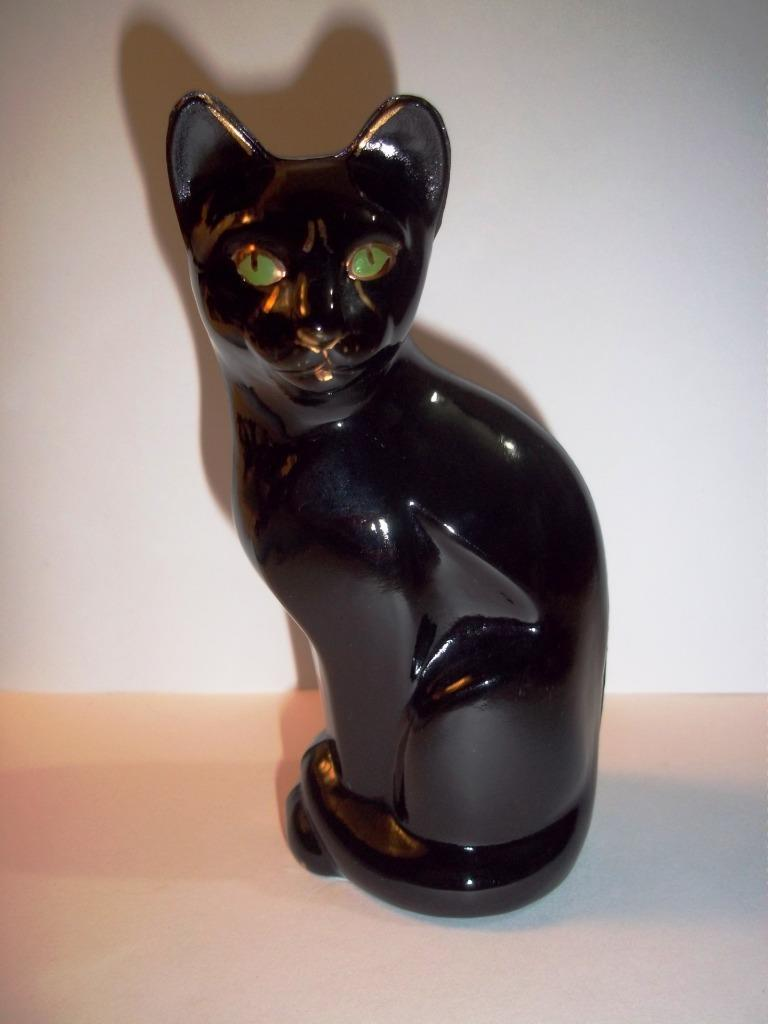 Fenton Glass BLACK PANTHER STYLIZED CAT Figurine Jungle Series Safari Collection