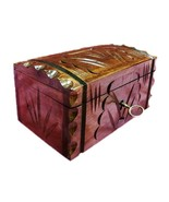 TipBox Wooden hand engraved key locked moneybox piggy penny coin bank - $14.83