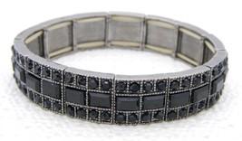 VTG LIZ CLAIBORNE Silver Tone Black Plastic Rhinestone Stretch Bracelet - $19.80