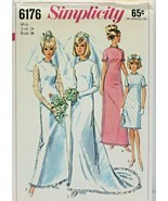 Vintage 1960s Simplicity Sewing Pattern 6176 Misses Dress Bridal Formal ... - $21.59