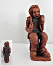 Red Clay Musician Figurine Playing Caxixs or Moraccas - $18.69