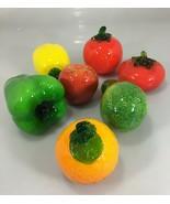 7 Glass Fruits Vegs 2 Tomatoes Lemon Pepper Apple Orange Zucchini Murano... - $63.21
