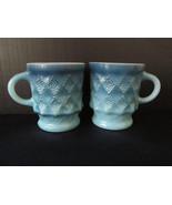 A Pair of Fire King Blue Kimberly Coffee Mugs. ... - $10.00