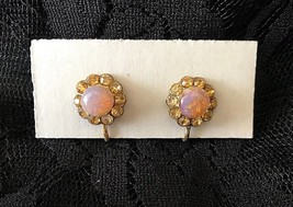 Vintage gold plated w/rhinestone & faux pink opal Flower clip/screwback ... - $29.70