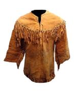 Mens New Native American Mountain Man Buckskin Buffalo Suede Leather Shi... - $98.01+