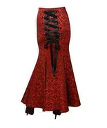 MERMAID JACQUARD FISHTAIL LARGE CORSET GOTHIC VICTORIAN RED LONG SKIRT S... - £48.61 GBP+