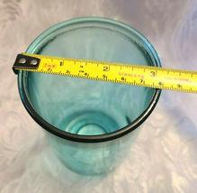 Vintage Unusual Dark Aqual Blue Glass Vase - See Pictures for better Description image 5
