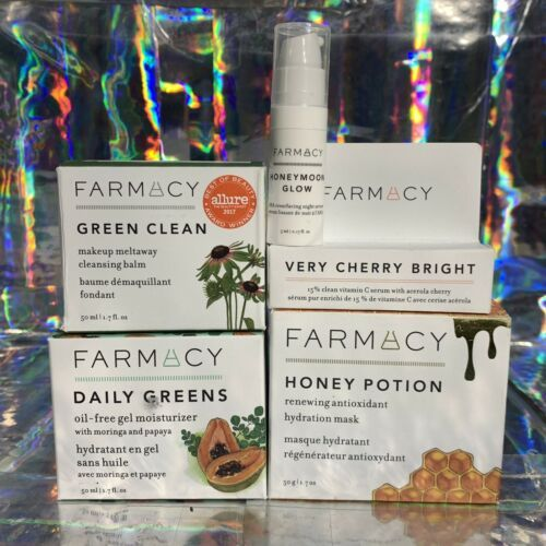 Lot Of 3 Farmacy Full Sized NEW IN BOX  Honey Potion Daily Greens Green Clean