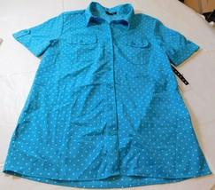 Notations Short Sleeve button up shirt blouse Womens Size S small Aqua Dots NWT - $21.77