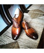 Trendy Men's Two Tone Brogue Leather Lace Up Wedding Shoes - $158.99