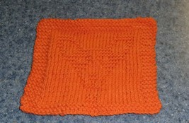 Brand New Hand Knit Corgi Dog Orange Cotton Dish Cloth For Dog Rescue Ch... - $10.91