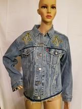 Levis Strauss Denim Jean Jacket Palm Tree Embroidered Distressed Womens ... - $94.07