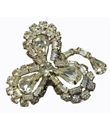 Vintage Clear Rhinestone Silver Toned Weiss Signed Floral Pin Brooch - $33.90