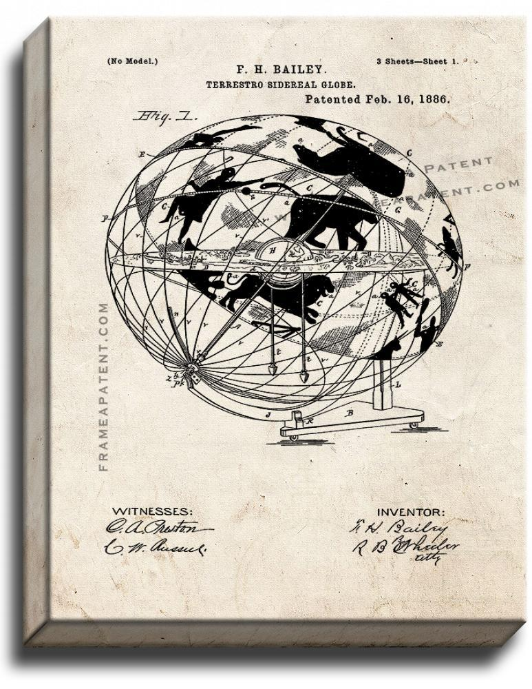 Primary image for Terrestro-Sidereal Globe Patent Print Old Look on Canvas