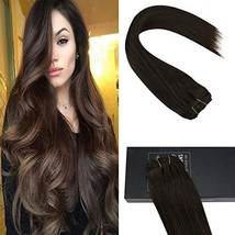 Sunny Brown Clip in Hair Extensions Human Hair 16 inch Double Weft Natural Hair
