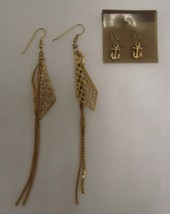 Vintage Lot Earrings Costume Fashion Gold Plated Triangle Dangle Anchor Nautical - $14.67