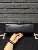 AUTHENTIC CHANEL BLACK CAVIAR QUILTED JUMBO DOUBLE FLAP BAG GOLD HARDWARE image 7
