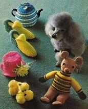 Vtg Knit Crochet Bazaar Novelties Dog Coat Slippers Poodle Covers Cozies Pattern - $12.99