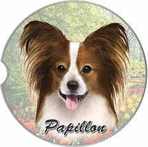 Papillon Car Coaster Absorbent Keep Cup Holder Dry Stoneware New Dogs Pets - $10.88