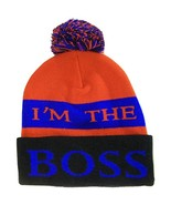 I'm The Boss Adult Size Tri-Color Striped Winter Knit Pom Beanie Red/Roy... - $11.95