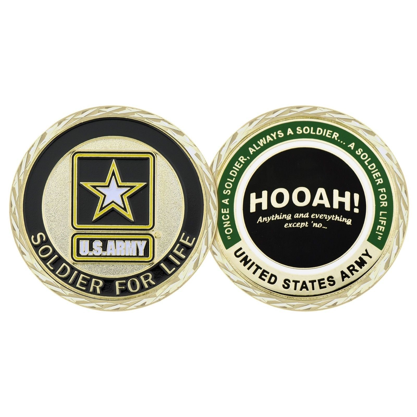 "ARMY SOLDIER FOR LIFE HOOAH 1.75"" CHALLENGE COIN"