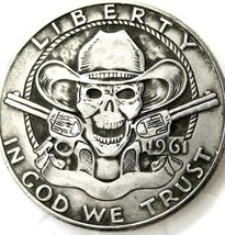New Hobo Nickel 1961 Western Franklin Wild West Skull Cowboy Skeleto Cas... - $11.39