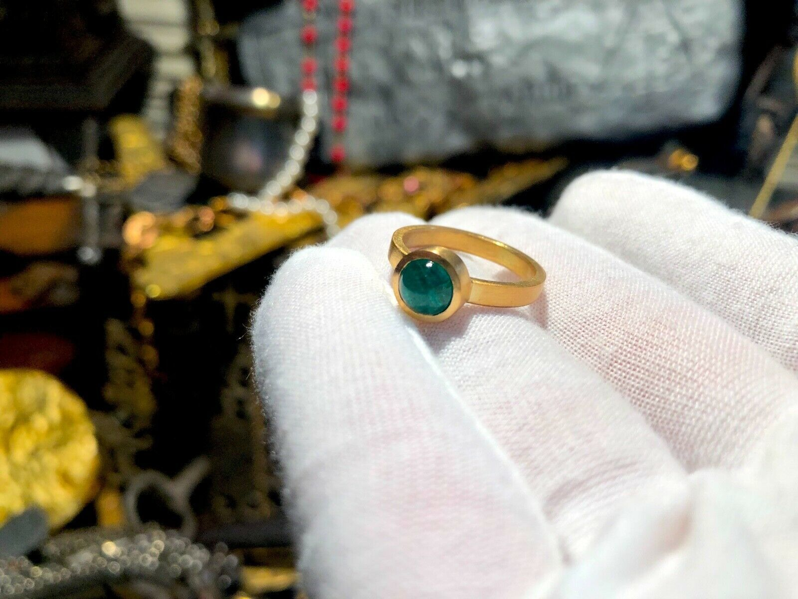 ATOCHA EMERALD 22KT SOLID GOLD RING REPRODUCTION PIRATE GOLD COINS