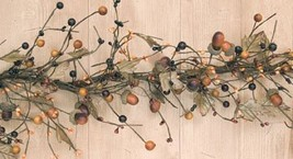BCD Country Mix Acorn Garland Fall Colors Leaves Berries Pips Primitive Floral D image 1